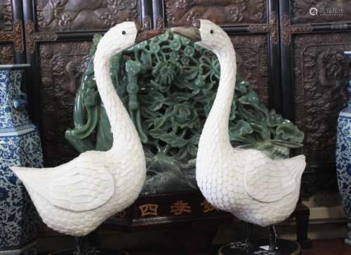 Large Pair of Chinese Swan