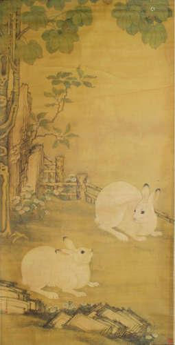 冷枚 双兔 设色纸本立轴