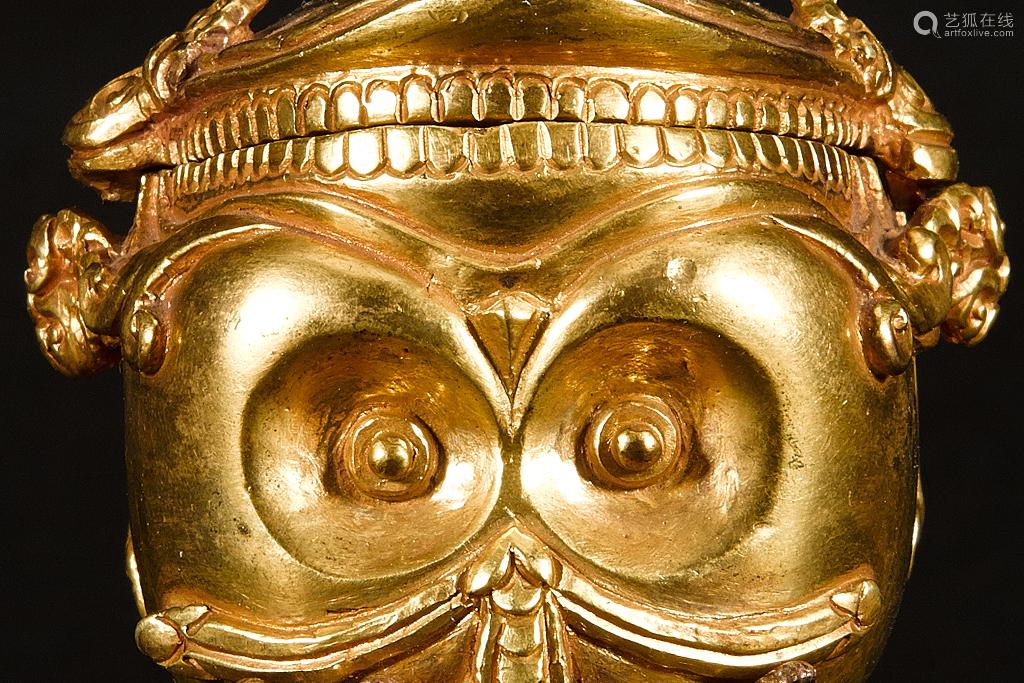 铜鎏金法供香盒
