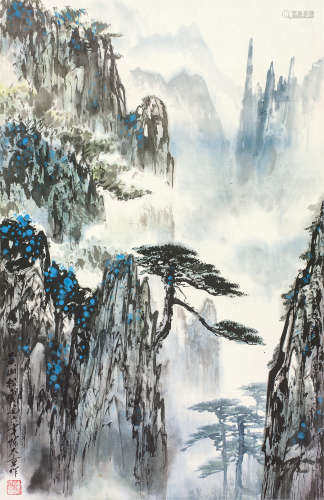 陈大章(1930~2015) 黄山松云 立轴 设色纸本