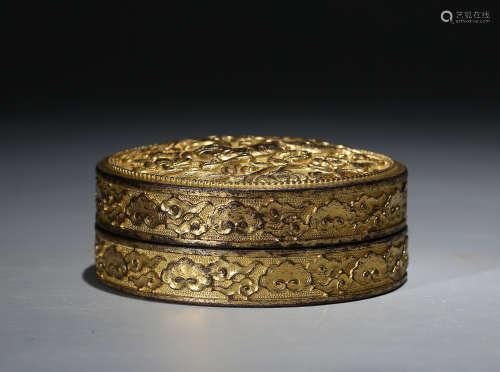 铜鎏金印泥盒