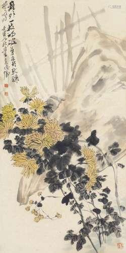 吴昌硕(1844~1927) 1902年作 菊石图 立轴 纸本