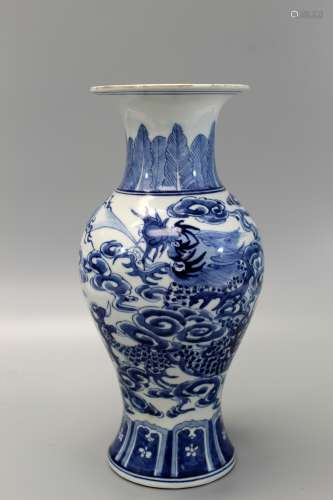 Chinese blue and white dragon vase.