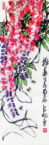 陈大羽 紫藤蜜蜂 纸本立轴