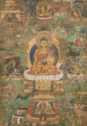 A THANGKA WITH SCENES OF THE LIFE OF PADMASAMBHAVA, Tibet or Bhutan, early 18th ct. - Property from a Dutch private collection - Wear, very minor damages due to age, mounted