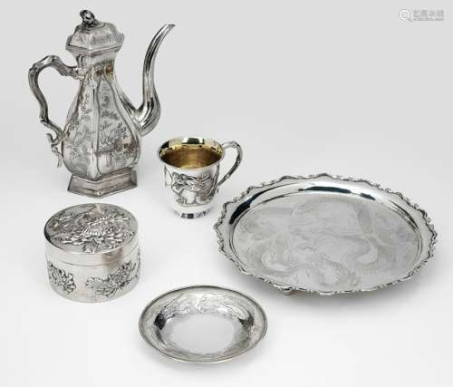 A SILVER TEAPOT AND COVER, A BOX AND COVER WITH CHRYSANTHEMUM, A CUP AND SAUCER AND A TRAY WITH DRAGON, China, marked, late Qing/Republic period - Property from an old German industrialist collection, assembled between 1950 and 1990 - Traces of use, minor wear