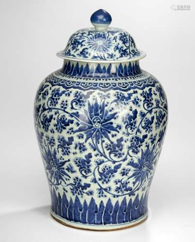 A LARGE UNDERGLAZE BLUE 'LOTUS POND' VASE AND COVER, China, Kangxi period - Property from a European private collection, acquired before 1990 - Minor chips to the rim, minor chip and drill hole to the bottom