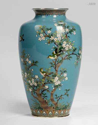 A SILVER-MOUNTED  CLOISONNÉ ENAMEL VASE DECORATED WITH BIRDS AND A FLOWERING PRUNUS