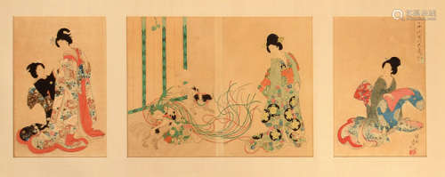 A GROUP OF FOUR COLOURED WOODBLOCK PRINTS DEPICTING BIJIN