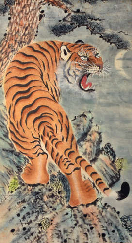 AN ANONYMOUS PAINTING OF A SNARLING TIGER