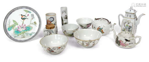 A GROUP OF 11 DIFFERENT DECORATED PORCELAINES