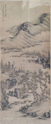 A LANDSCAPE PAINTING WITH PINES BY HUANG GUAN ON PAPER