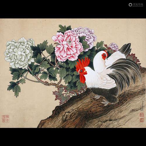 胡念祖  (b.1927) 富贵双鸡图 设色纸本 上款人:大空先生