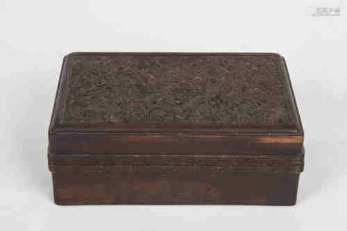A Chinese Carved Zitan Box with Cover