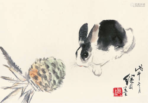 刘继卣(1918~1983) 1978年作 兔 镜片 纸本
