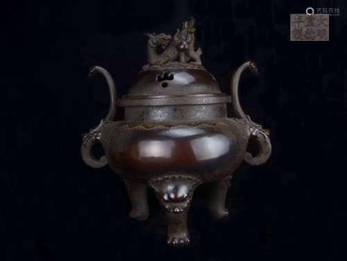 A BRONZE TRIP CENSER AND COVER