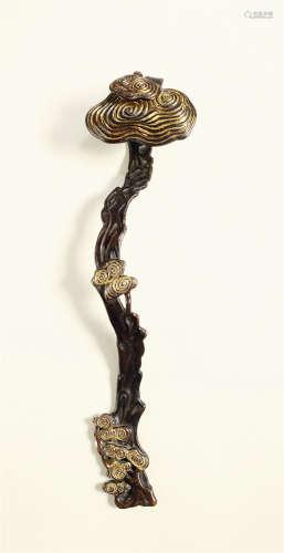 清中期 铜鎏金九如如意