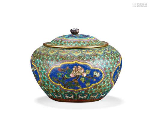 清中期 铜胎掐丝珐琅花卉纹开光盖罐