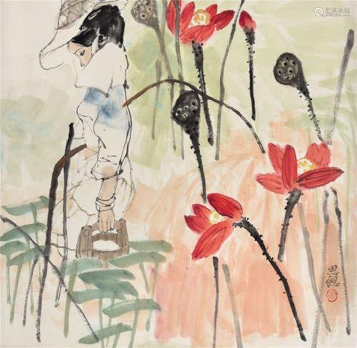 周思聪(1939~1996) 少女 立轴 设色纸本