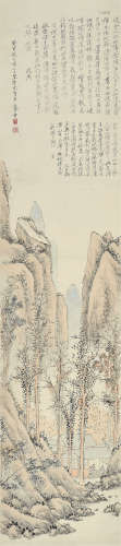 朱鹤年(1760~1844) 摹沈周山水 立轴 设色纸本