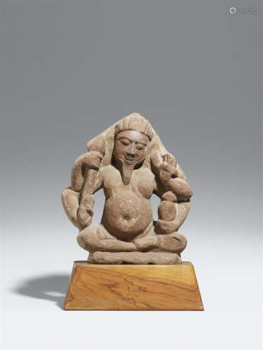 Der Gott des Feuers Agni. Rosafarbener Sandstein. Nordindien. Post-Gupta-Zeit, 8./9. Jh.