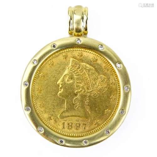 1897 U.S. Ten Dollar Gold Coin and 14 Karat Yellow Gold