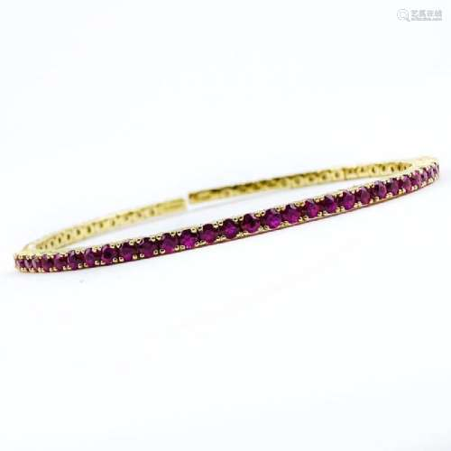 Vintage Round Brilliant Cut Ruby and 14 Karat Yellow