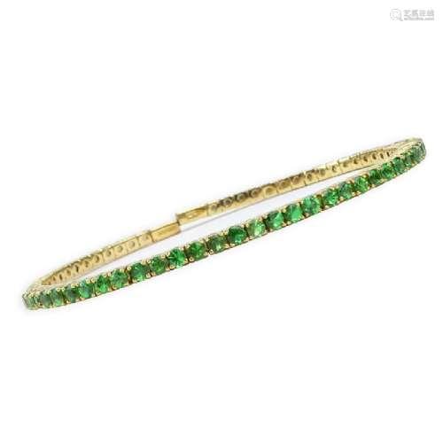 Vintage Round Brilliant Cut Emerald and 14 Karat Yellow