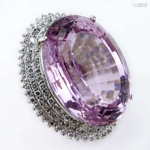 72.65 Carat Oval Cushion Cut Kunzite, 3.50 Carat Round