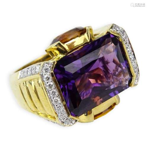 Amethyst, Citrine, Diamond and 14 Karat Yellow Gold