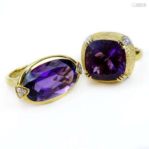 Two (2) Vintage Amethyst and 14 Karat Yellow Gold Rings