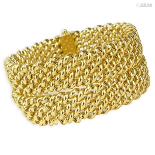 Vintage Italian 18 Karat Yellow Gold Flexible Mesh Link