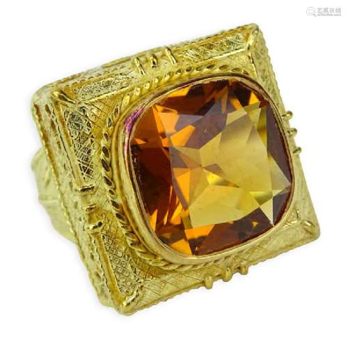 Vintage Italian Etruscan style Round Cut Citrine and 18