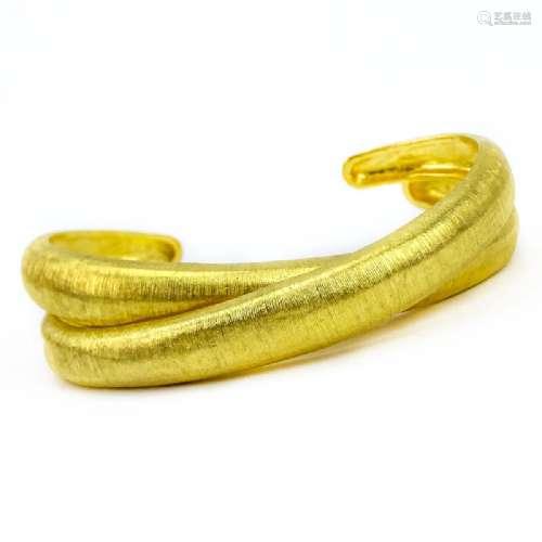 Pair of 24 Karat Fine Yellow Gold Cuff Bracelets.