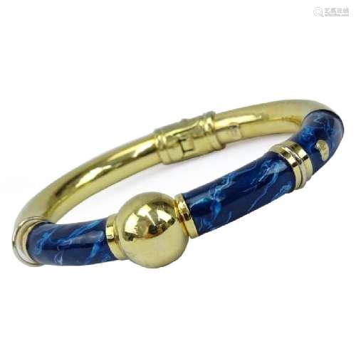 Vintage 18 Karat Yellow Gold and Blue Enamel Hinged