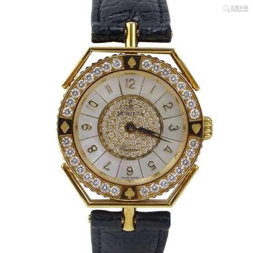 Men's Montega 18 Karat Yellow Gold and Diamond Watch.
