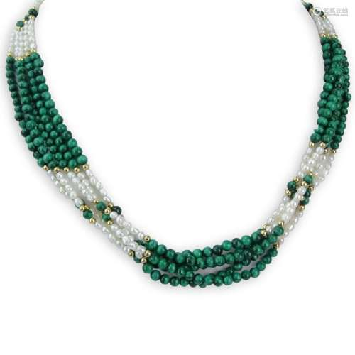 14 Karat Yellow Gold, Malachite, Seed pearl Necklace.