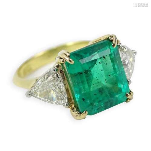 Vintage Approx. 4.98 Carat Emerald, .75 Carat Trillion