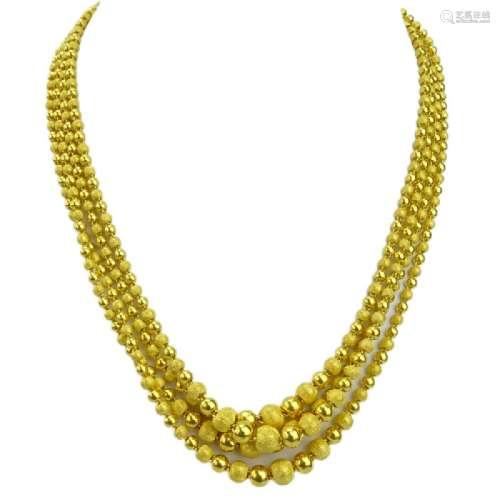 Vintage Long 24 Karat Pure Yellow Gold Graduated Bead
