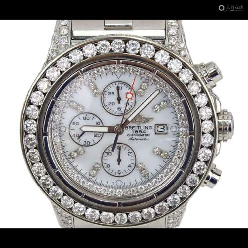 Man's Breitling Approx. 17.60 Carat Round Brilliant Cut