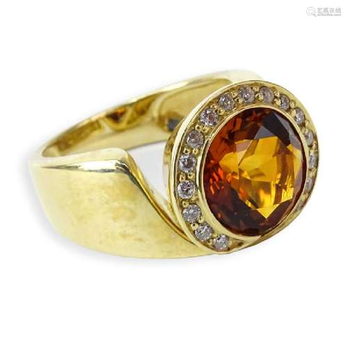 Vintage Round Brilliant Cut Citrine, Diamond and 14