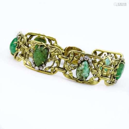 Antique Art Nouveau Approx. 5.0 Carat Carved Emerald,