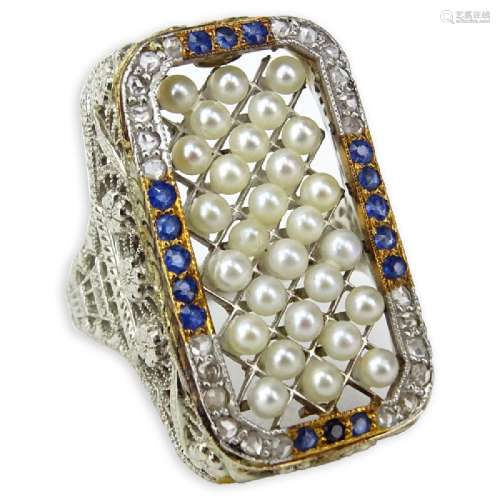 Antique Pearl, Sapphire and 14 Karat White Gold