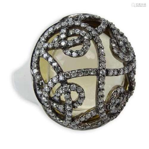 Nicole Miller 14 Karat White Gold, Diamond and Glass