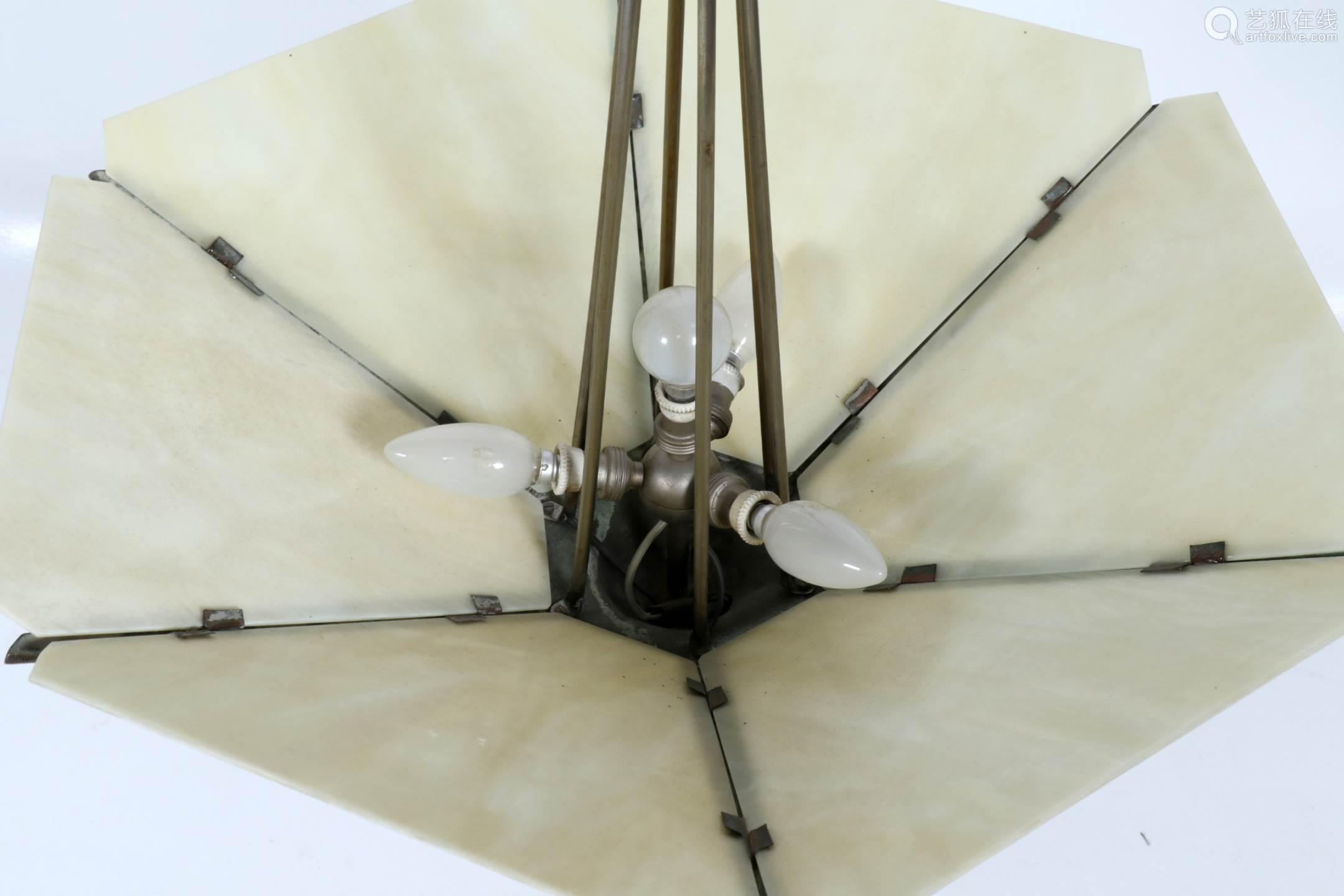 Art Deco Hanglamp : Verzilverd art deco hanglamp met opaline flambé glasplaten-【deal