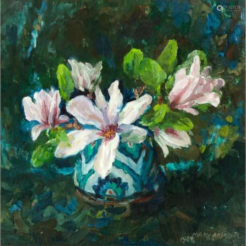 [§] MARY NICOL NEILL ARMOUR R.S.A., R.S.W. (SCOTTISH 1902-2000) MAGNOLIAS 48.5cm x 48.5cm (19in x 19in)