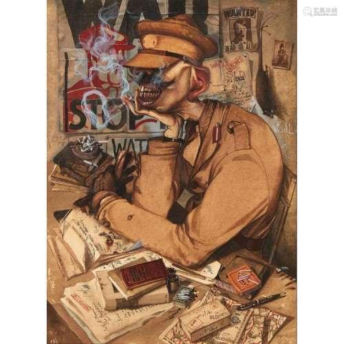 [§] JOHN BYRNE R.S.A. (SCOTTISH B. 1940) WRITER'S CRAMP 30cm x 22cm (11.75in x 8.75in)