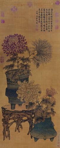 钱维城 古代 清供 绢本立轴