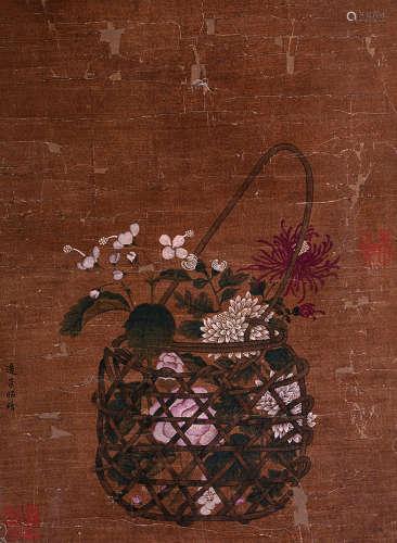 佚名 古代 花卉 绢本镜片