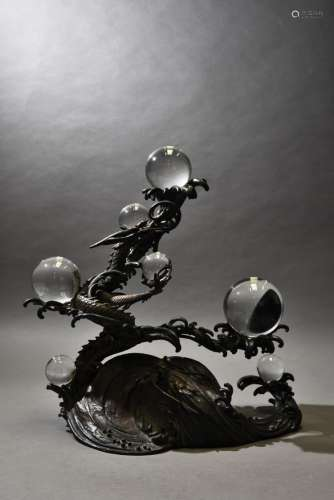 A 'DRAGON' BRONZE SCULPTURE WITH SEVEN CRYSTAL BALLS, 20TH CENTURY
